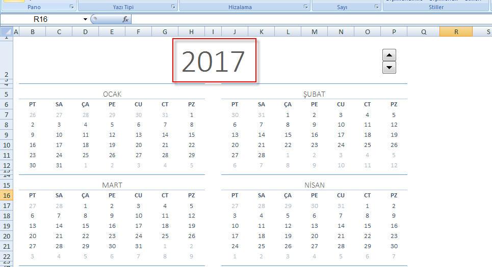 Excel Takvim