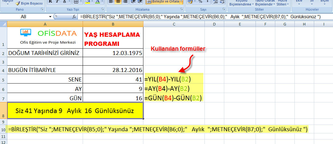 Excel Tarih Formülleri